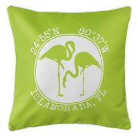 Personalized Coordinates Flamingo Pillow - Lime