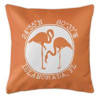 Personalized Coordinates Flamingo Pillow - Orange