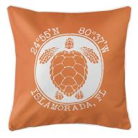 Personalized Coordinates Sea Turtle Pillow - Orange