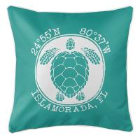 Personalized Coordinates Sea Turtle Pillow - Aqua