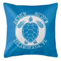 Personalized Coordinates Sea Turtle Pillow - Blue