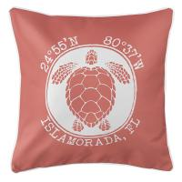 Personalized Coordinates Sea Turtle Pillow - Coral
