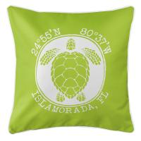 Personalized Coordinates Sea Turtle Pillow - Lime