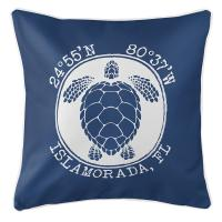 Personalized Coordinates Sea Turtle Pillow - Navy