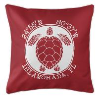 Personalized Coordinates Sea Turtle Pillow - Red