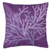 Coral Duo on Purple Pillow