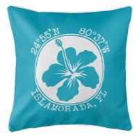 Personalized Coordinates Hibiscus Pillow - Calypso