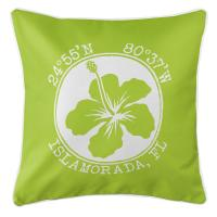 Personalized Coordinates Hibiscus Pillow - Lime