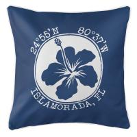 Personalized Coordinates Hibiscus Pillow - Navy