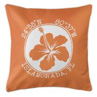 Personalized Coordinates Hibiscus Pillow - Orange