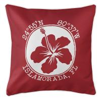 Personalized Coordinates Hibiscus Pillow - Red