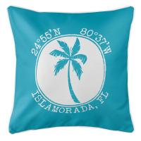 Personalized Coordinates Island Palm Pillow - Calypso