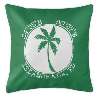 Personalized Coordinates Island Palm Pillow - Green