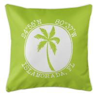 Personalized Coordinates Island Palm Pillow - Lime
