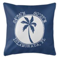 Personalized Coordinates Island Palm Pillow - Navy