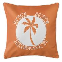 Personalized Coordinates Island Palm Pillow - Orange
