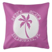 Personalized Coordinates Island Palm Pillow - Pink