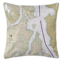 WA: Bremerton, Bainbridge Island, Seattle, WA Nautical Chart Pillow