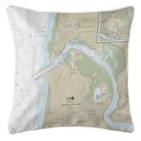 OR: Yaquina Bay and River, Newport, OR Nautical Chart Pillow