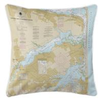 NJ: Navesink and Shrewsbury Rivers, Redbank, Rumson Neck, NJ Nautical Chart Pillow