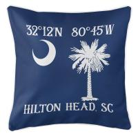 Personalized South Carolina Palm & Crescent Coordinates Pillow