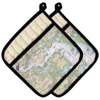 NH: Portsmouth Harbor, NH Nautical Chart Pot Holder (Set of 2)