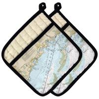 FL: Crystal Beach, Honeymoon Island, FL Nautical Chart Pot Holder (Set of 2)