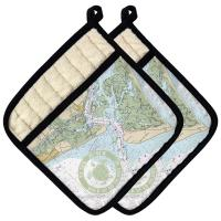 Bald Head Island, NC Chart & Logo Pot Holder (Set of 2)