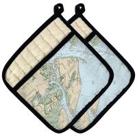 SC: Hilton Head Island, SC Nautical Chart Pot Holder (Set of 2)