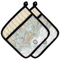 Marco Island, FL Chart & Logo Pot Holder (Set of 2)