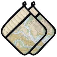 SC: Charleston, SC Nautical Chart Pot Holder (Set of 2)