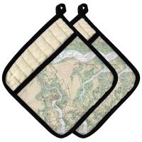 SC: Beaufort & Ladys Island, SC Nautical Chart Pot Holder (Set of 2)