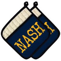 NASH Pot Holder (Set of 2) - Gold on Navy