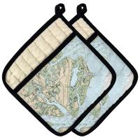 SC: St Helena Island, Fripp Island, Hunting Island, SC Nautical Chart Pot Holder (Set of 2)