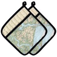 SC: Edisto Island, SC Nautical Chart Pot Holder (Set of 2)