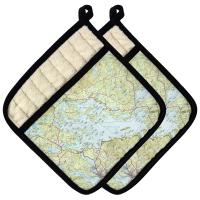 NH: Lake Winnipesaukee, NH Topo Map Pot Holder (Set of 2)