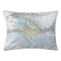 AL: Dauphin Island, AL Nautical Chart Lumbar Pillow