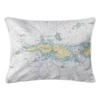 VI: Saint Thomas, USVI Nautical Chart Lumbar Pillow