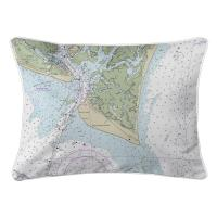 NC: Bald Head Island, NC Nautical Chart Lumbar Pillow