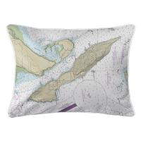 WA: Lummi Island, WA Nautical Chart Lumbar Pillow