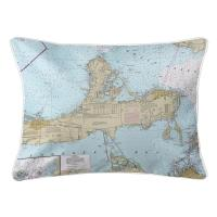 OH: Catawba Island, Marblehead, OH Nautical Chart Lumbar Pillow