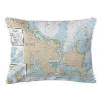 MA: Edgartown, Chappaquiddick Island, MA Nautical Chart Lumbar Pillow