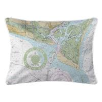 Bald Head Island, NC Chart & Logo Lumbar Pillow
