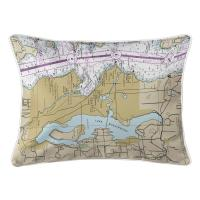 WA: Lake Washington, WA Nautical Chart Lumbar Pillow