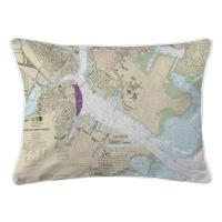 MA: Boston, MA Nautical Chart Lumbar Pillow