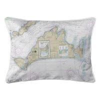 MA: Martha's Vineyard, MA Nautical Chart Lumbar Pillow