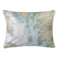 MD: Chesapeake Bay, MD-VA Nautical Chart Pillow