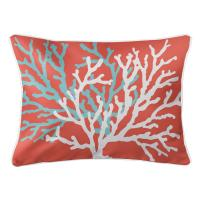 Coral Duo on Coral Lumbar Pillow