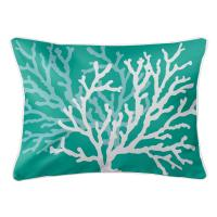 Coral Duo on Aqua Lumbar Pillow