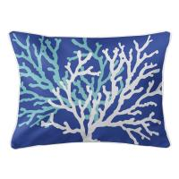 Coral Duo on Cobalt Lumbar Pillow